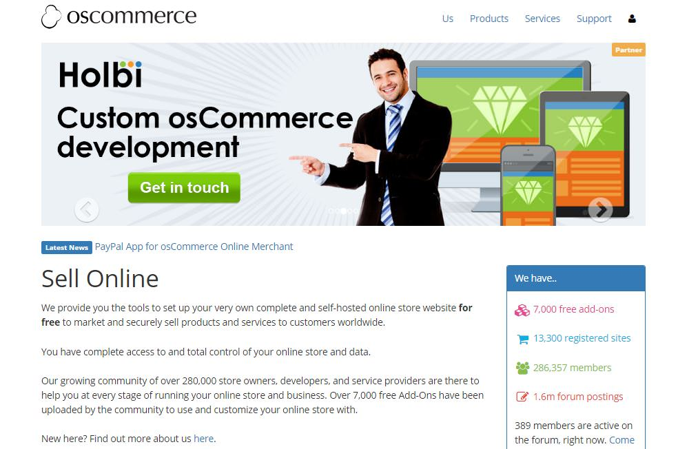 OsCommerce CMS piattaforma ecommerce open source