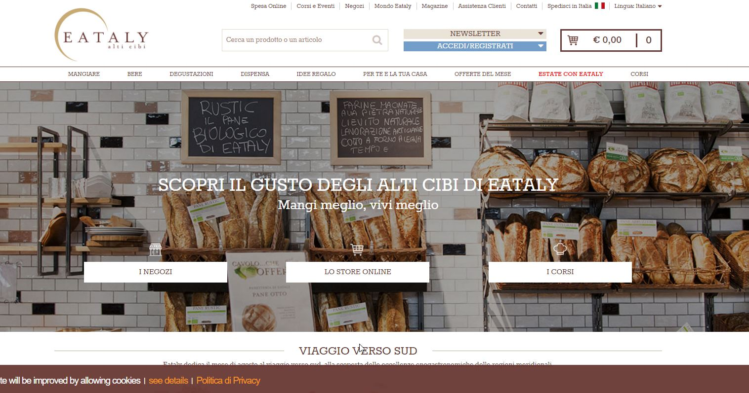 Home-Page eCommerce eataly