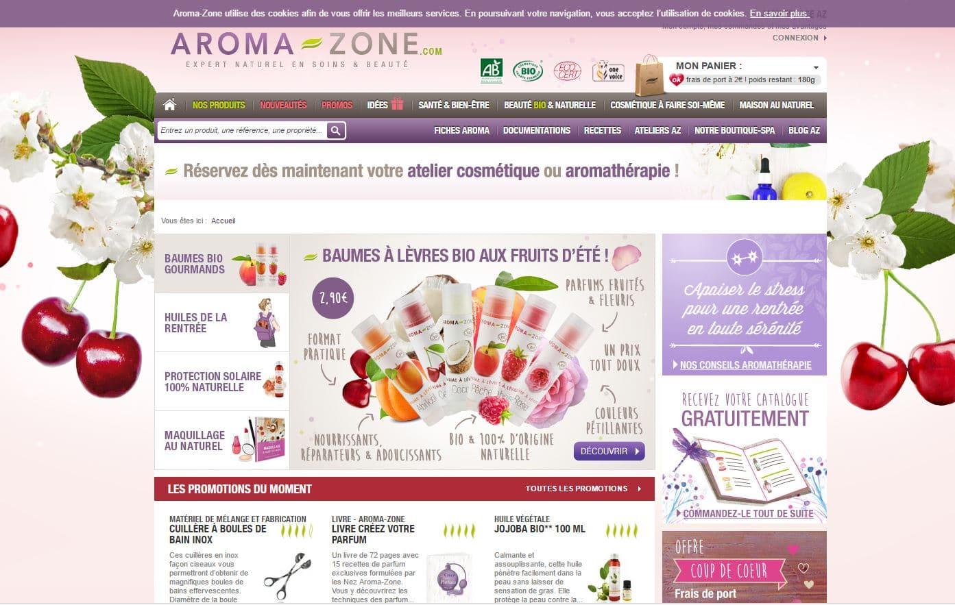 aroma-zone homepage
