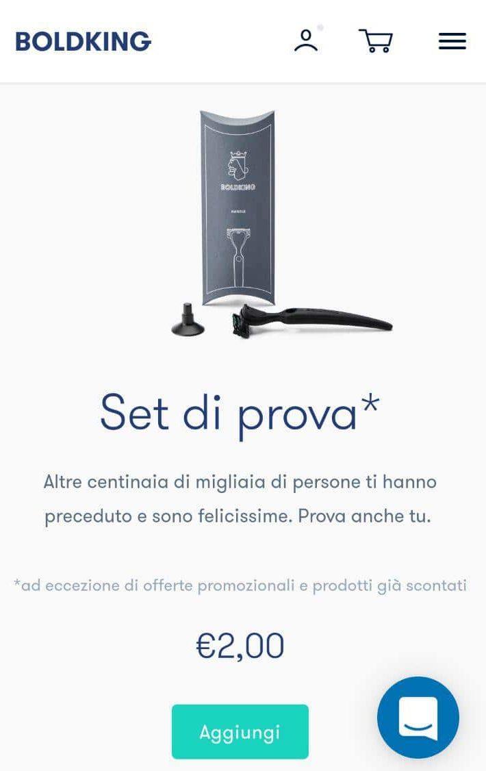 boldking promozione test prodotto 2€