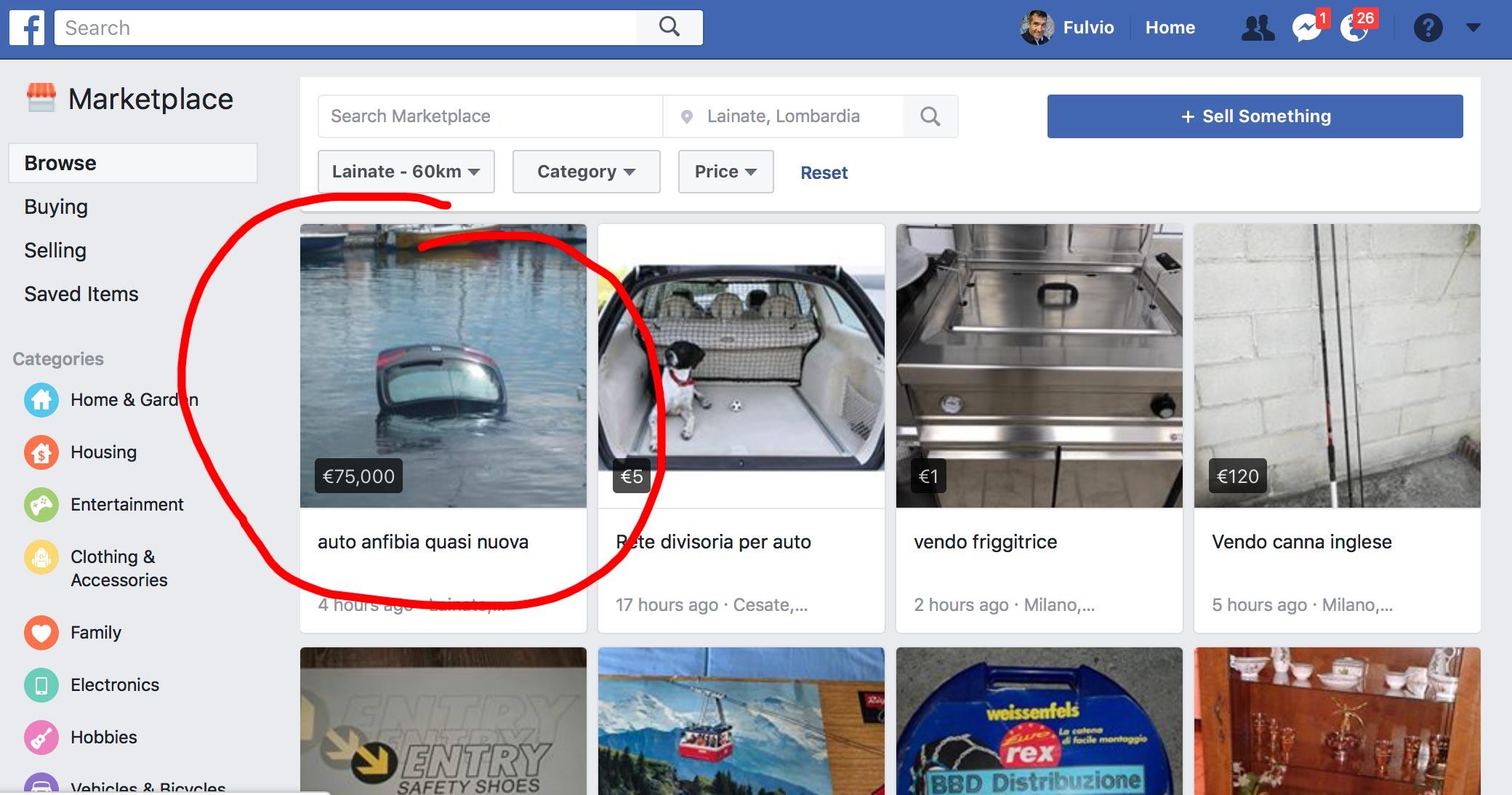 lista prodotti markertplace facebook