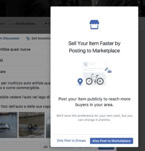 richiesta se aggiungere a facebook marketplace